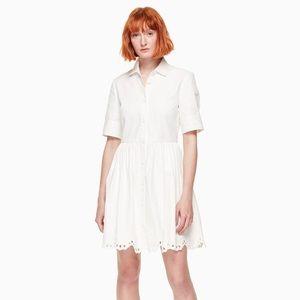 Kate Spade Denim Cutwork Dress White